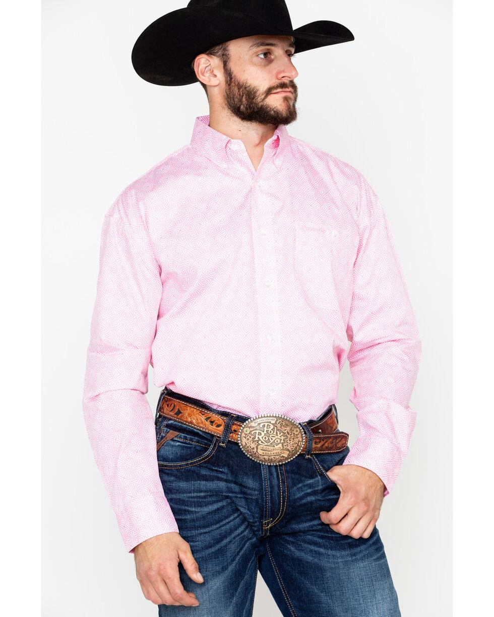 Wrangler Men's Tough Enough To Wear Pink Long Sleeve Western Shirt, Pink, hi-res
