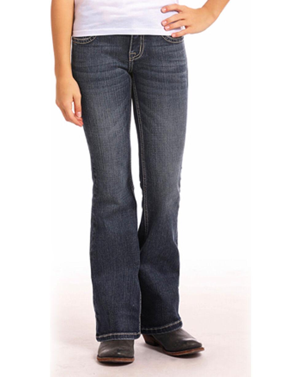 Rock & Roll Cowgirl Girls' Embellished Dark Vintage Wash Jeans - Boot Cut, Blue, hi-res