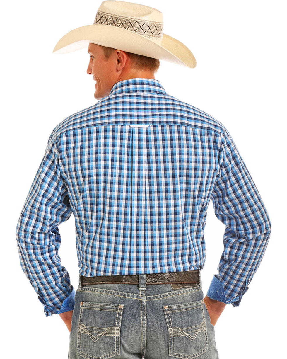 Tuf Cooper Performance Men's Herringbone Plaid Competition Fit Stretch Shirt, Blue, hi-res
