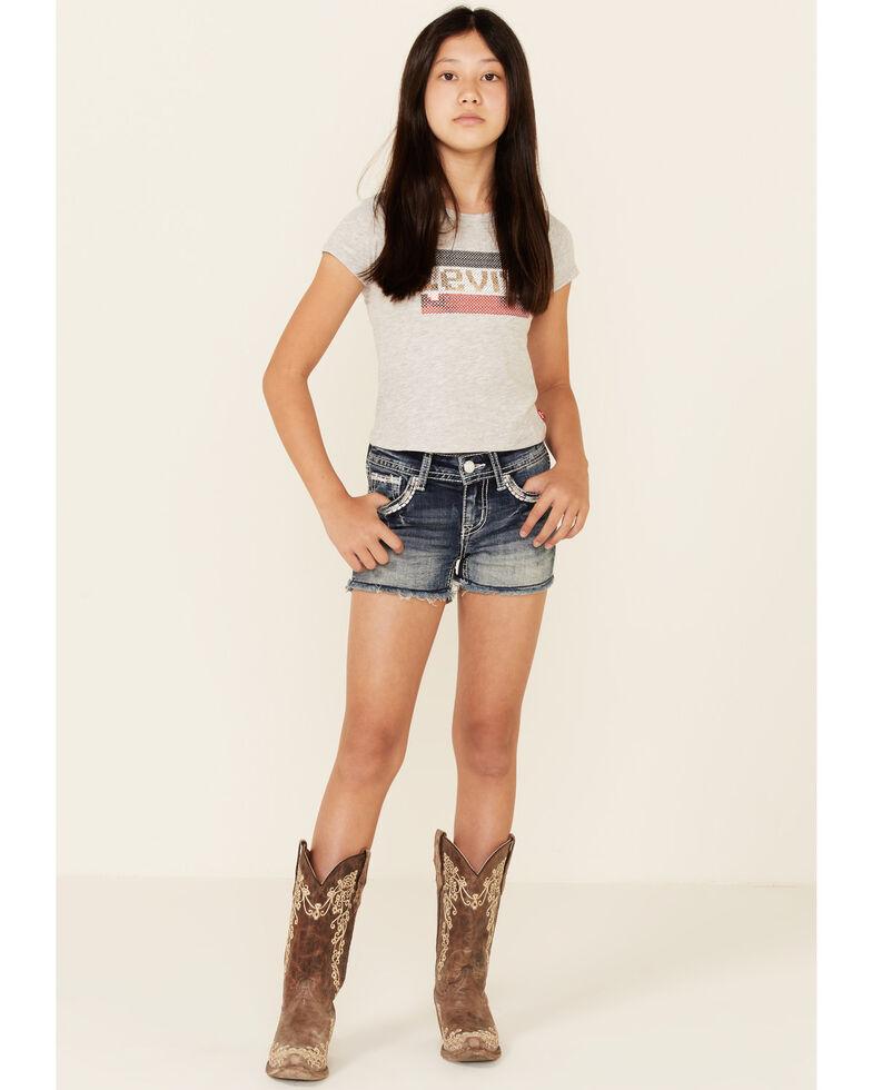 Grace In LA Girls' Medium Wash Border Faux Stitch Pocket Denim Shorts , Blue, hi-res