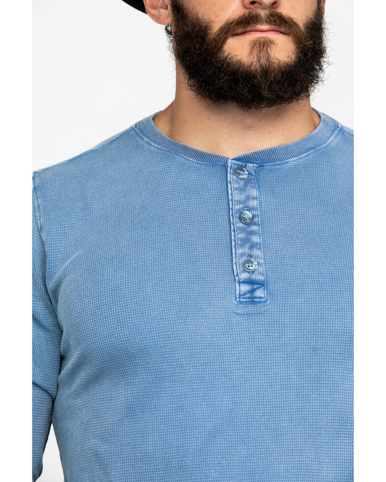 Cody James Men's Solid Waffle Thermal Washed Henley Long Sleeve Shirt , Light Blue, hi-res