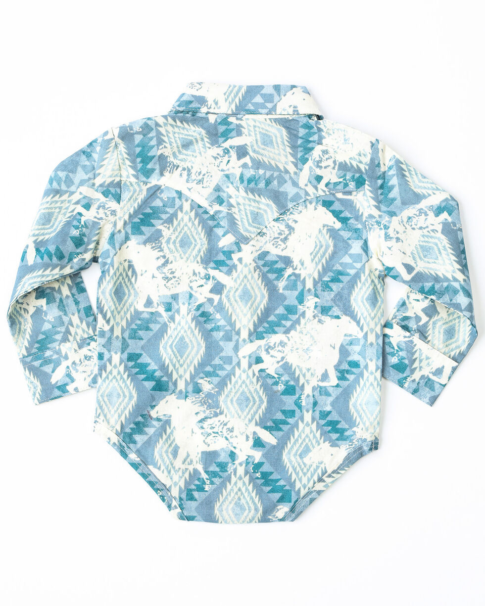 Wrangler Infant Boys' Checotah Aztec Print Long Sleeve Western Onesie, Blue, hi-res