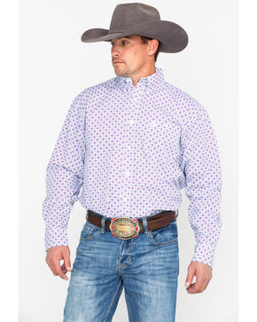 George Strait by Wrangler Purple Geo Print Long Sleeve Western Shirt , Purple, hi-res