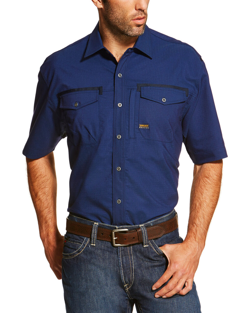 Ariat Men's Navy Rebar Short Sleeve Work Shirt - Tall, Navy, hi-res