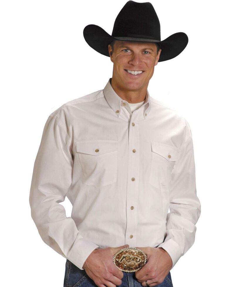 Roper Men's Solid Amarillo Collection Long Sleeve Western Shirt, White, hi-res