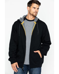 Hawx Men's Black Zip-Front Work Hooded Jacket , Black, hi-res