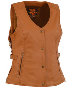 Milwaukee Leather Women's Saddle Tan Fringe Snap Front Vest - 4X, Medium Brown, hi-res