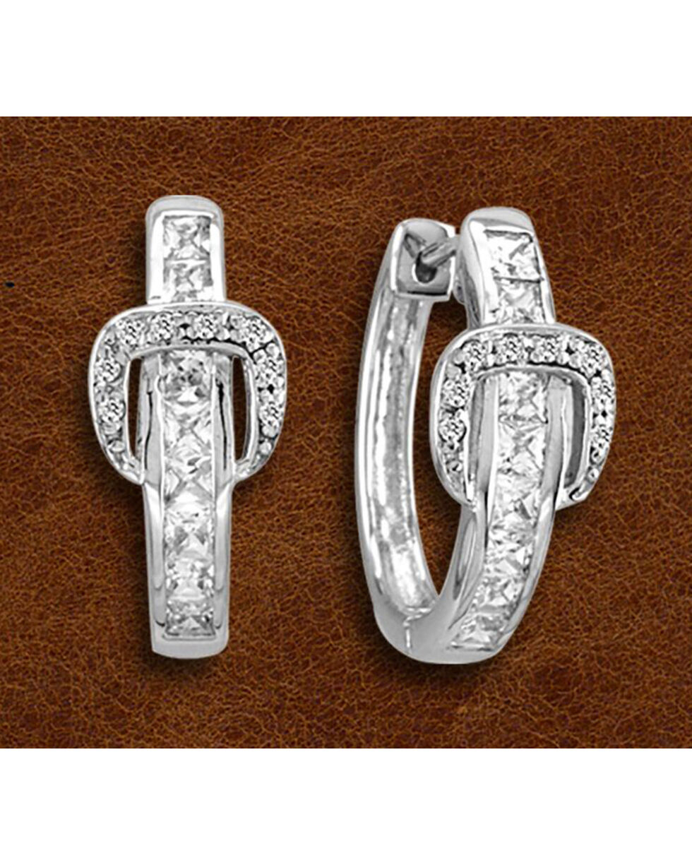 Kelly Herd Sterling Silver Rhinestone Buckle Earrings, Silver, hi-res