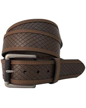 G-Bar-D Men's Brown Diamond Embossed Leather Belt , Brown, hi-res