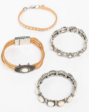 Shyanne Women's White Howlite Multi Suede Bracelet Set, Silver, hi-res
