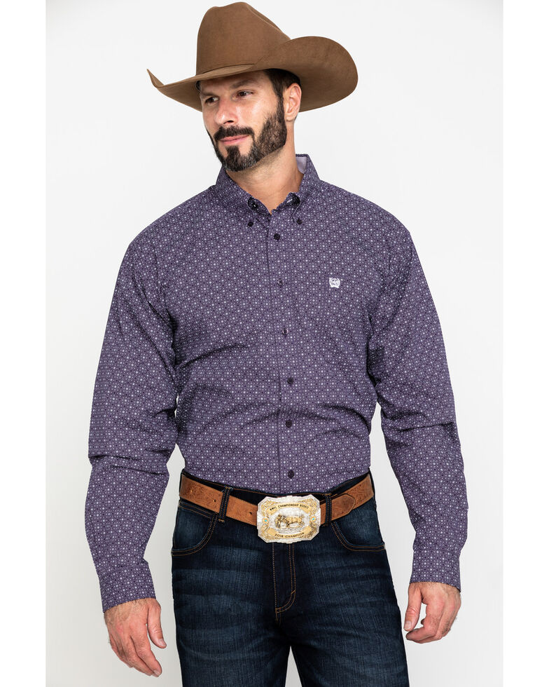 Cinch Men's Purple Diamond Geo Print Plain Weave Long Sleeve Western Shirt - Big , Purple, hi-res
