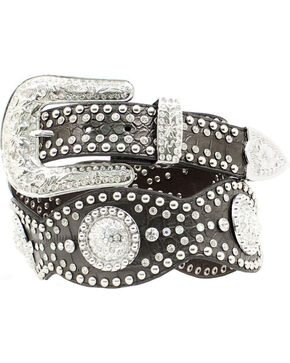 Nocona Studded Rhinestone Concho Scalloped Leather Belt, Black, hi-res