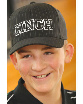 Cinch Boys' Logo Pinstriped Ball Cap, Black, hi-res