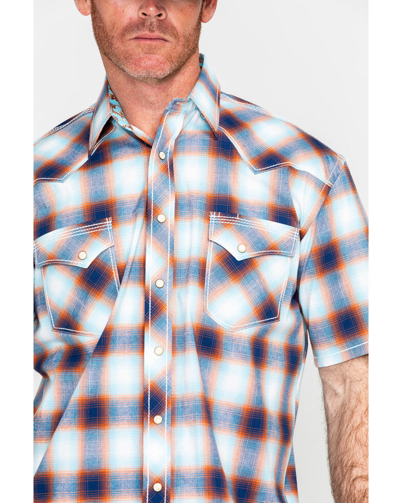 Panhandle Men's Rough Stock Delano Vintage Plaid Short Sleeve Western Shirt , Blue, hi-res