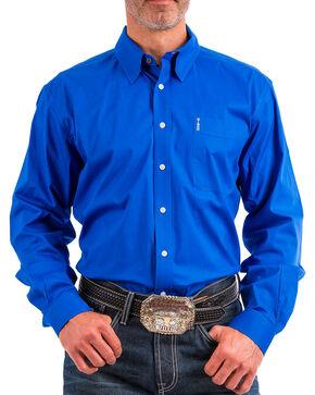 Cinch Men's Blue Modern Fit Western Button Shirt , Blue, hi-res