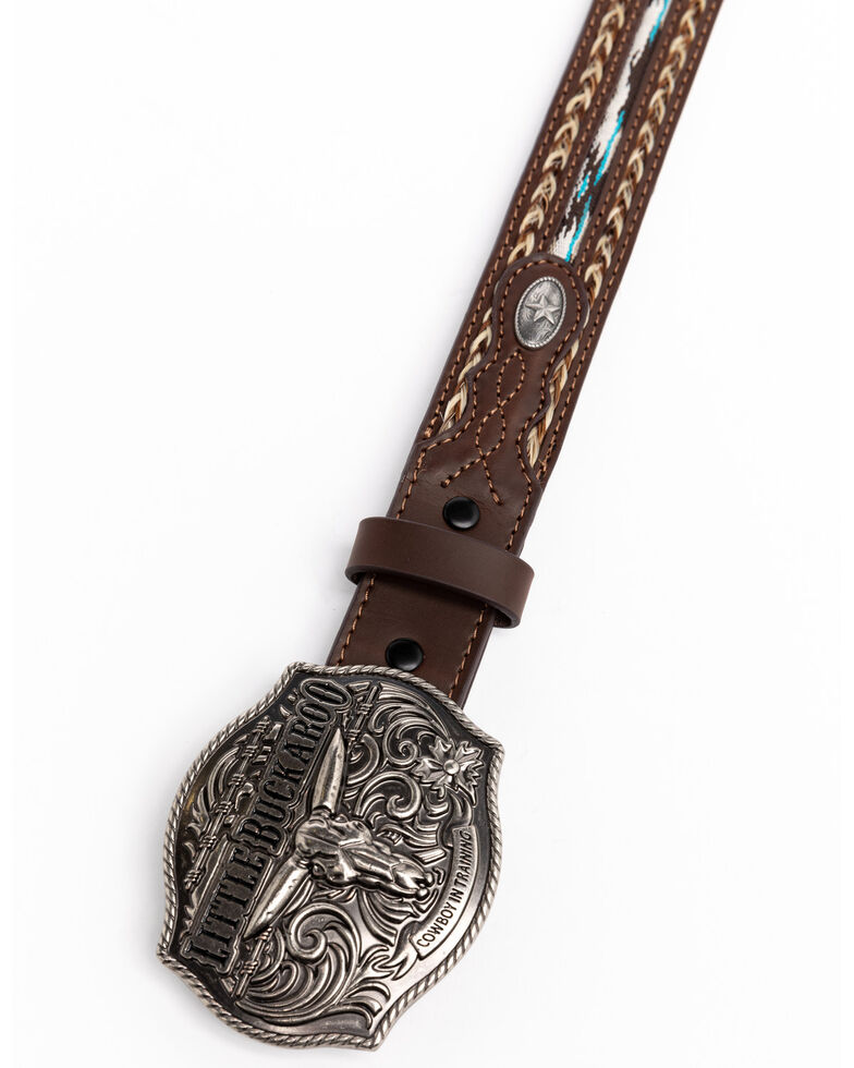 Cody James Boys' Little Buckaroo Ribbon Buckle Belt , Brown, hi-res