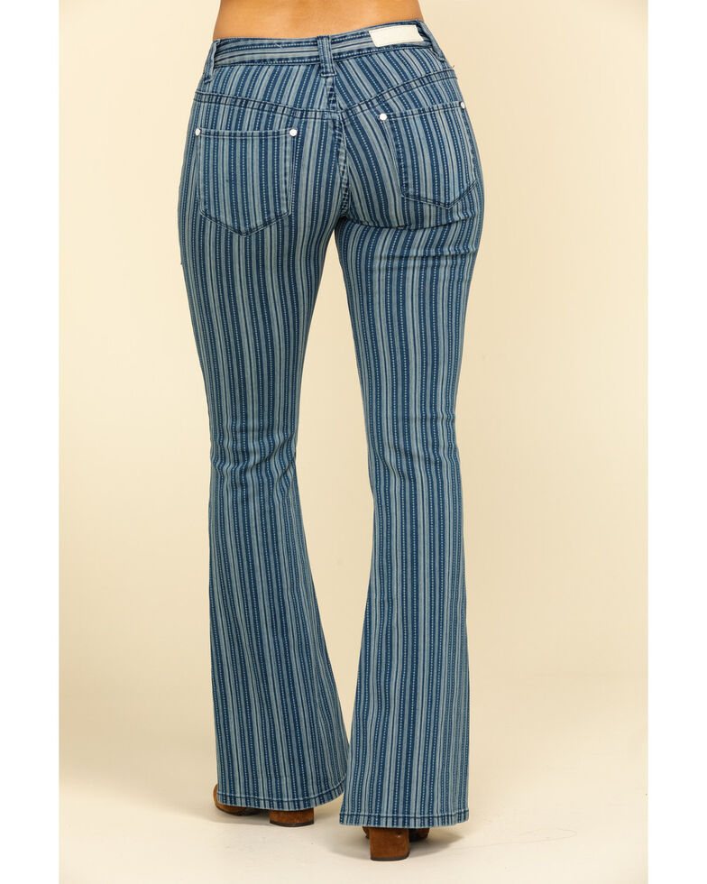 Rock & Roll Cowgirl Women's Denim Stripe Flare Jeans, Multi, hi-res