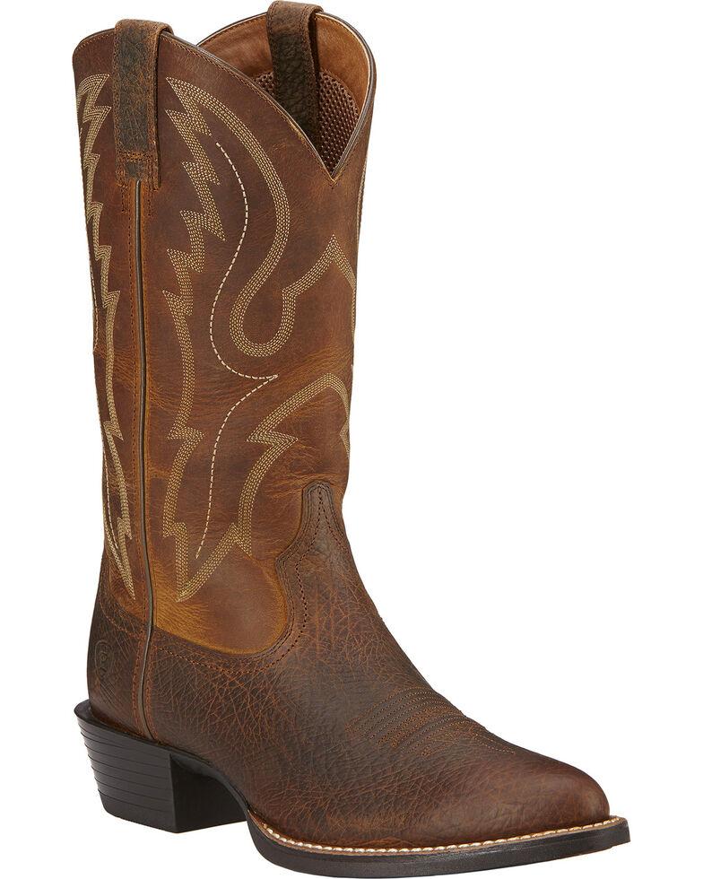 Ariat Men's Sport R Toe Western Boots, Earth, hi-res