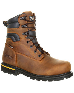 "Rocky Men's Governor Waterproof 8"" Work Boots - Safety Toe, Brown, hi-res"