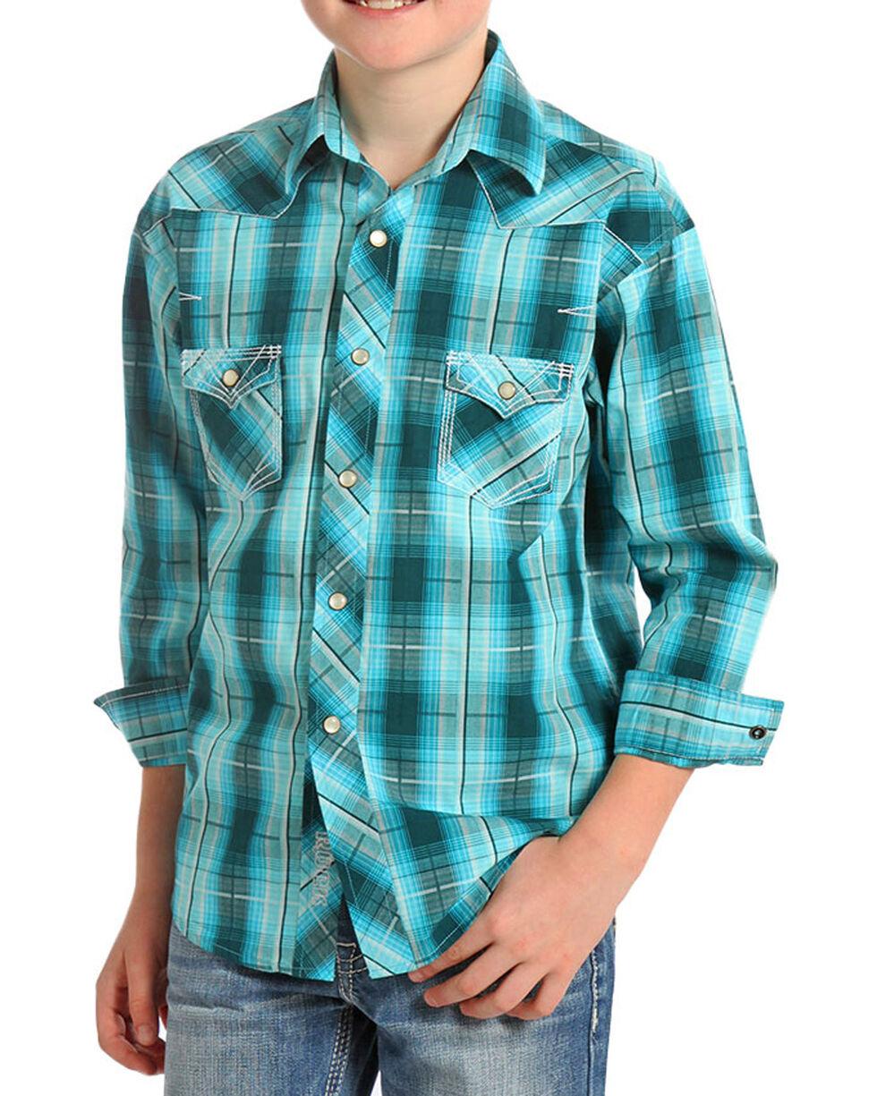 Panhandle Boys' Long Sleeve Western Shirt, Turquoise, hi-res