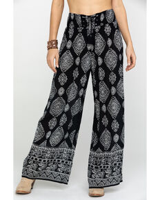Bila Women's Black & White Print Wide Leg Pants, Black/white, hi-res