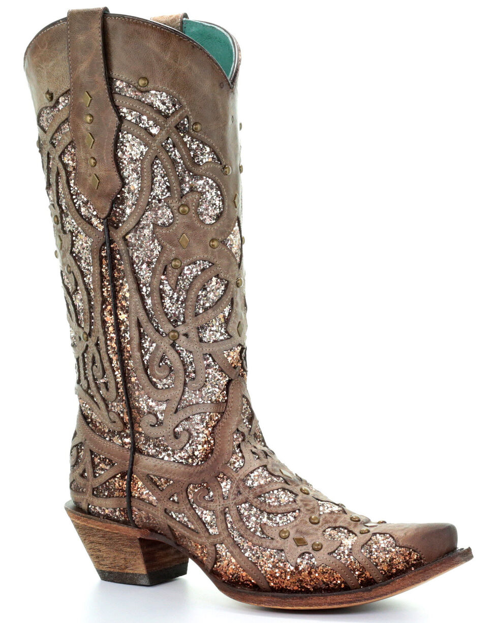Corral Women's Golden Luminary Roots Western Boots - Snip Toe, Light Grey, hi-res
