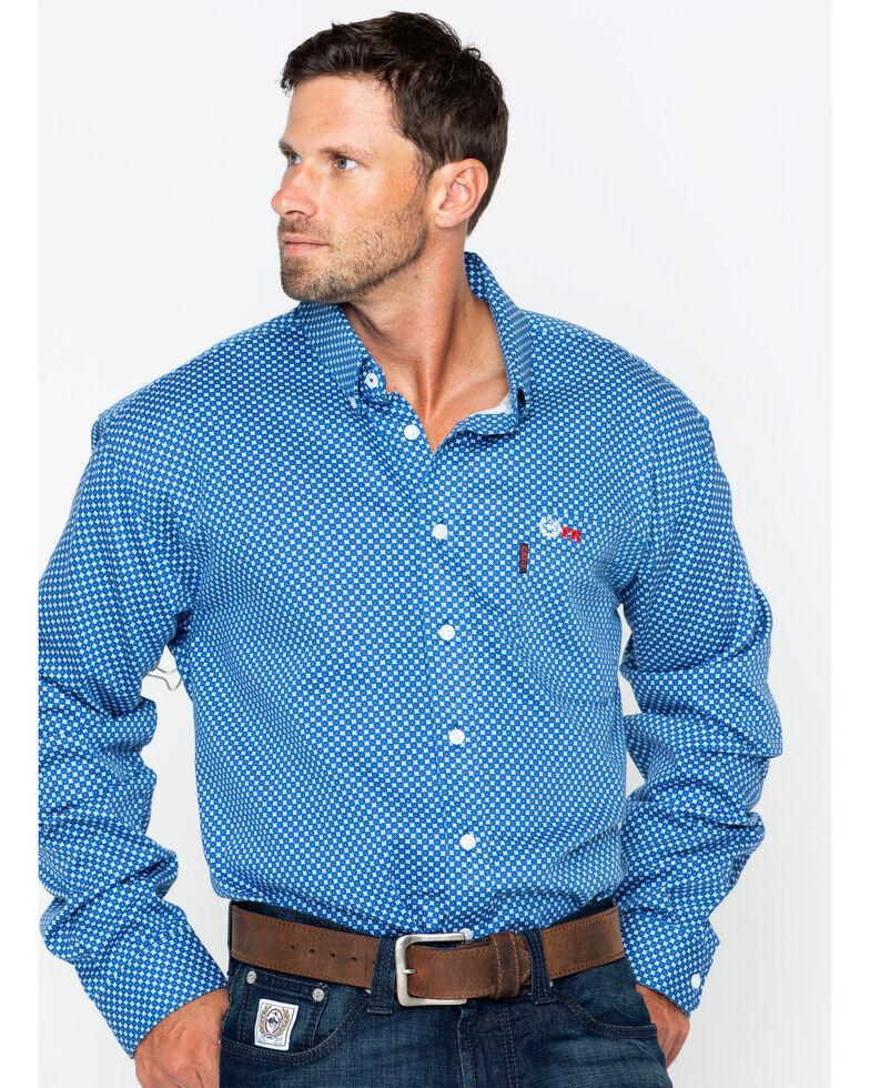 Cinch WRX Men's FR Royal Geo Print Lightweight Long Sleeve Work Shirt, Royal Blue, hi-res