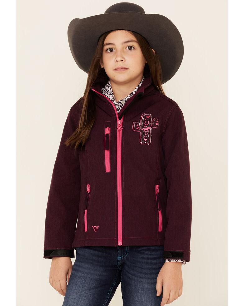Cowgirl Hardware Girls' Burgundy Cactus Cross & Horse Softshell Jacket , Burgundy, hi-res