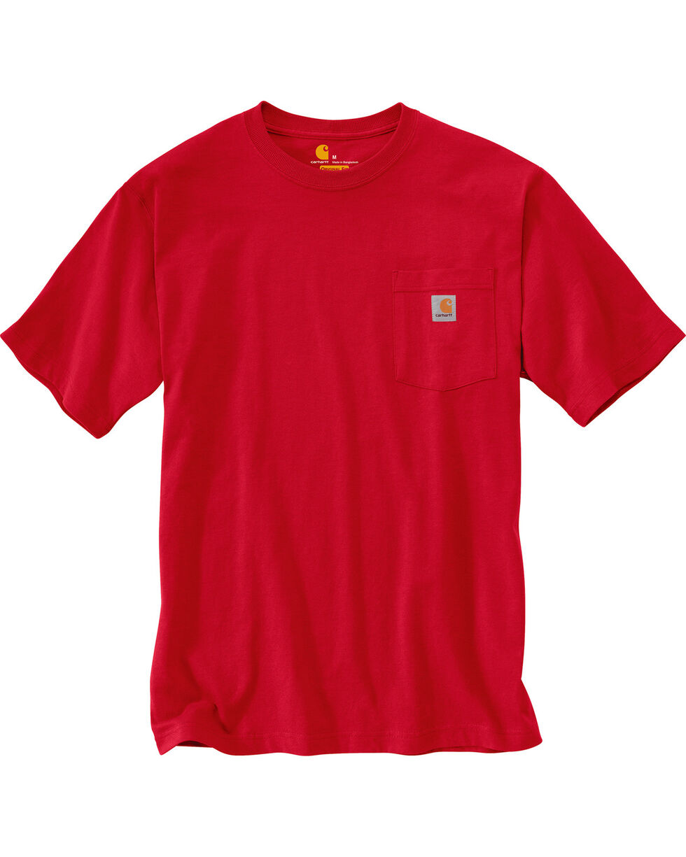 Carhartt Short Sleeve Pocket Work T-Shirt, Red, hi-res