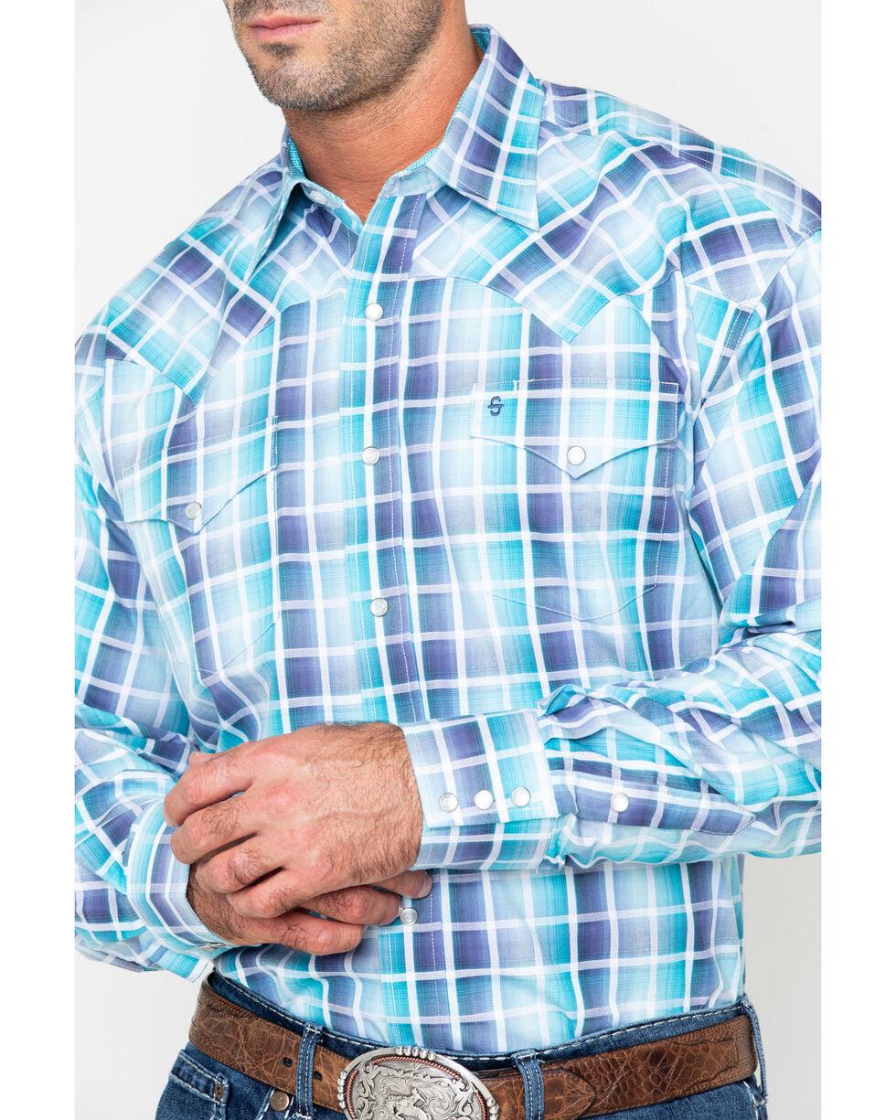 Roper Men's Blue Medium Plaid Snap Long Sleeve Western Shirt , Blue, hi-res