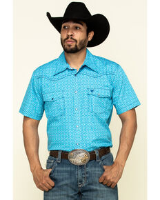 Cowboy Hardware Men's Blue Snowflake Geo Print Short Sleeve Western Shirt , Blue, hi-res