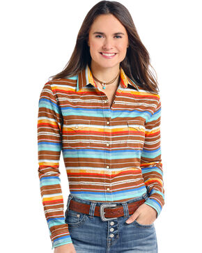 Panhandle Women's Aztec Long Sleeve Shirt, Multi, hi-res