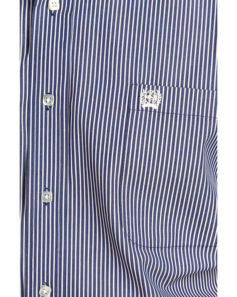 Cinch Men's Striped Print Long Sleeve Western Shirt , Navy, hi-res
