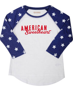 Shyanne® Girls' American Sweetheart Baseball Tee , White, hi-res