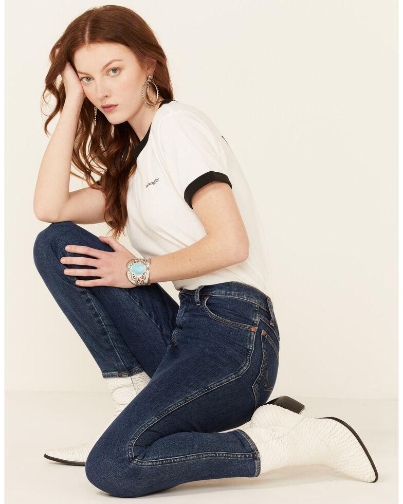 Wrangler Modern Women's Vintage Back Logo Short Sleeve Ringer Tee , White, hi-res