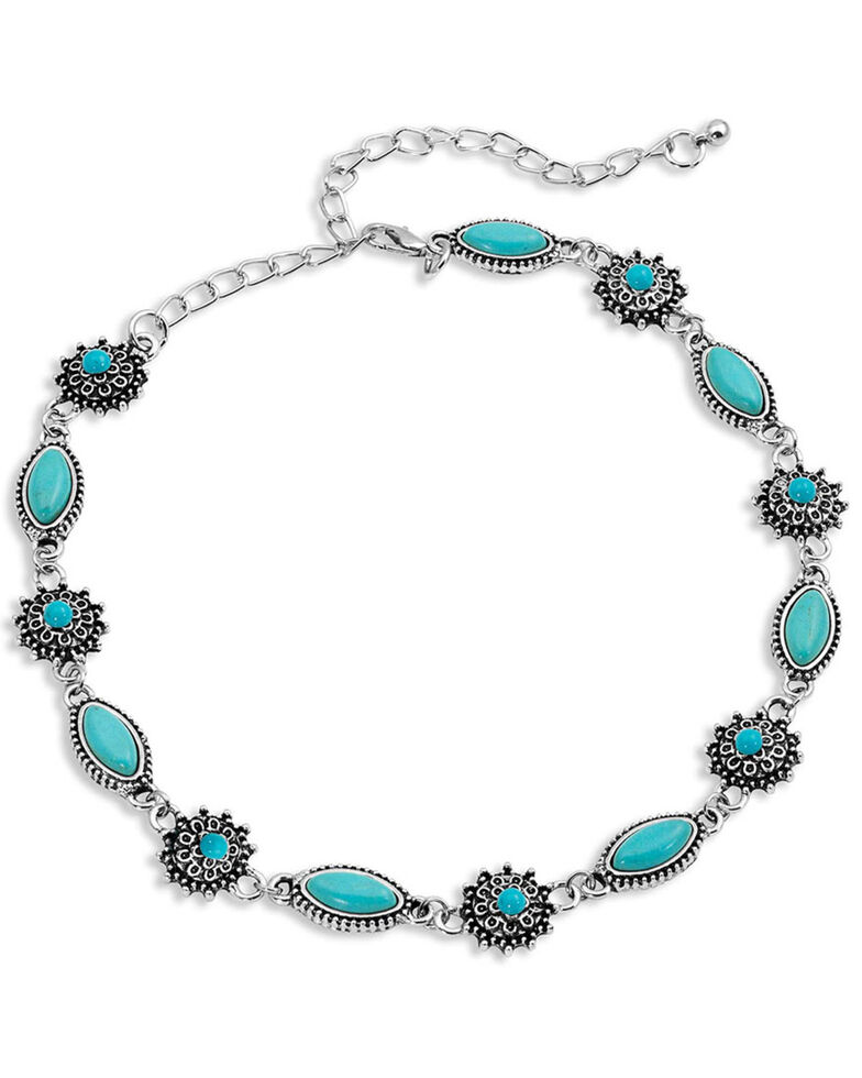 Montana Silversmiths Women's Turquoise Filigree Choker Necklace, Silver, hi-res
