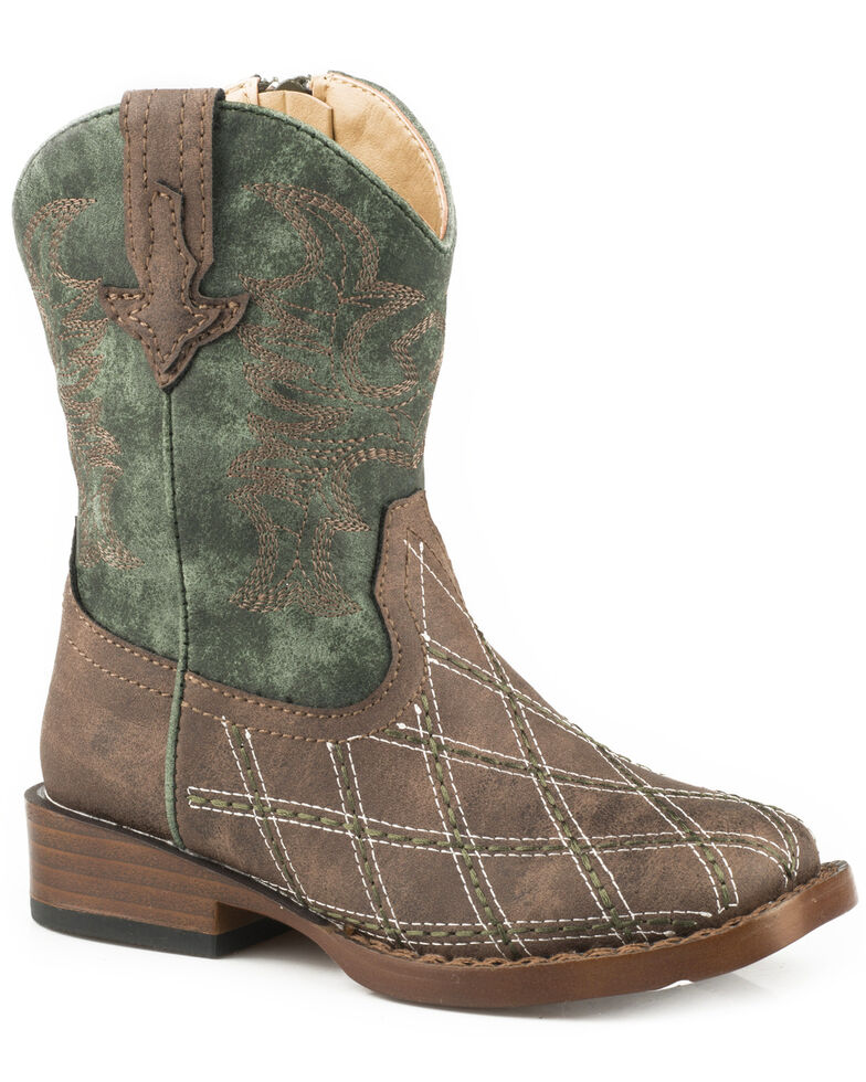 Roper Toddler Boys' Cross Cut Cowboy Boots - Square Toe, Brown, hi-res