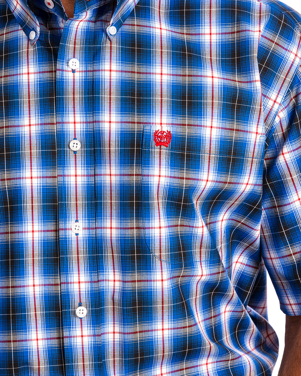 Cinch Men's Blue Plaid Short Sleeve Button Down Shirt, , hi-res