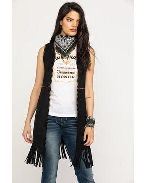 Vocal Women's Faux Suede Whipstitch Fringe Vest, Black, hi-res