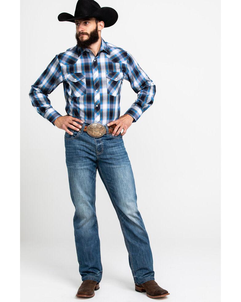 Roper Men's Blue Med Plaid Long Sleeve Western Shirt , Blue, hi-res