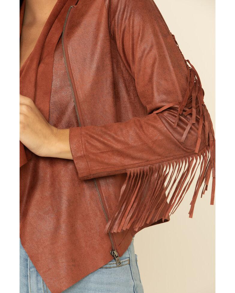 Shyanne Women's Tan Faux Suede Fringe Jacket, Tan, hi-res