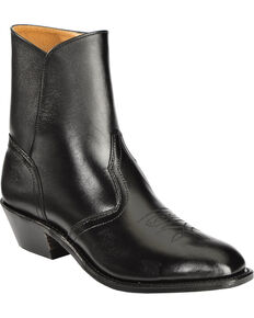 Boulet Men's Side Zip Ankle Boots - Square Toe, Black, hi-res