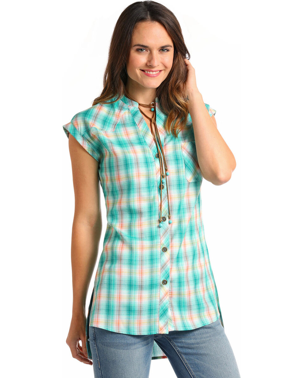 Panhandle Women's Plaid Short Sleeve Button Tunic, Teal, hi-res