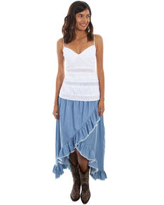 Scully Women's Hi/Lo Ruffled Denim Skirt , Blue, hi-res