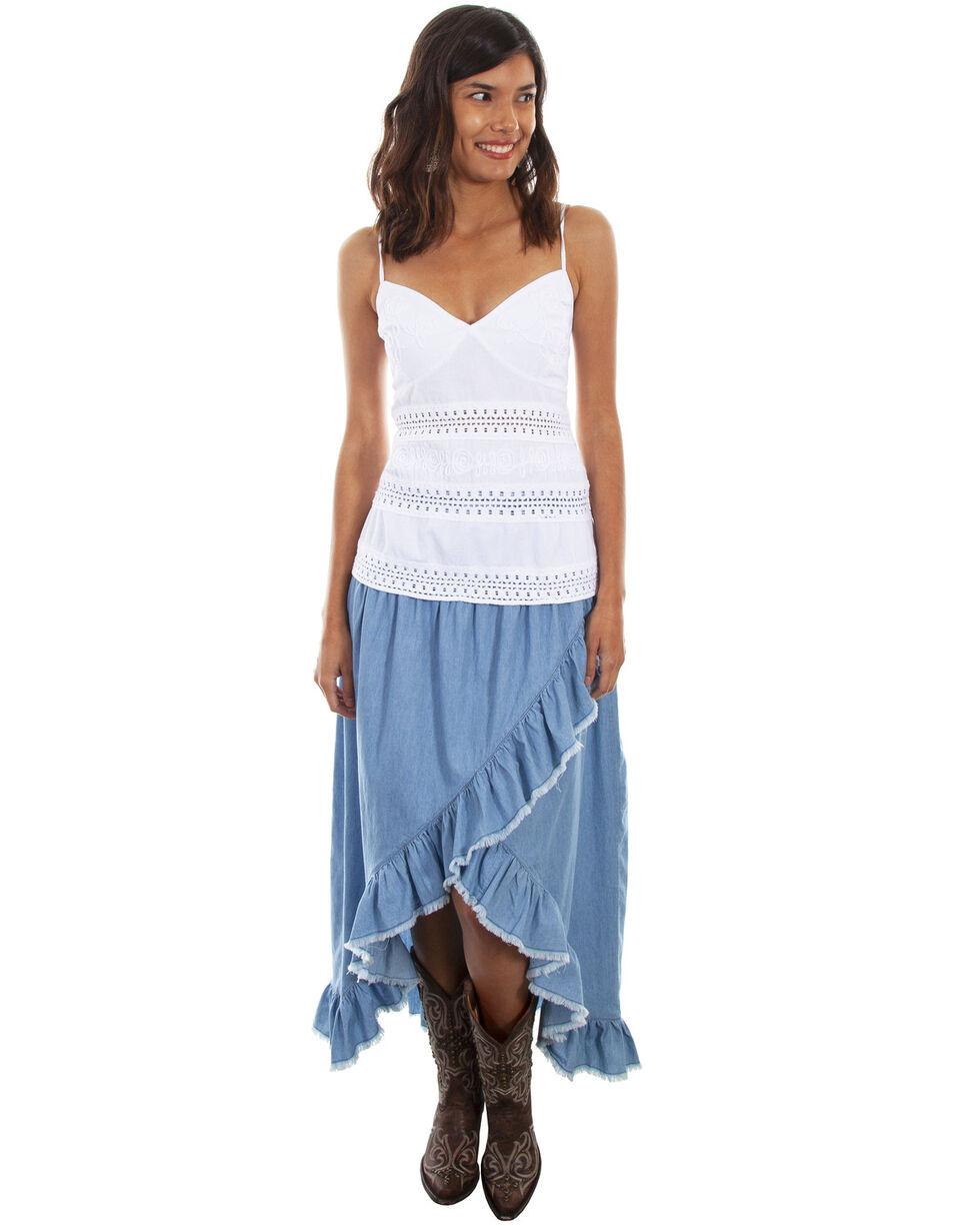 Scully Women's Hi/Lo Ruffled Denim Skirt , Blue, hi-res