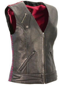 Milwaukee Leather Women's Lightweight Crinkle Snap Front Vest - 3X, Pink/black, hi-res