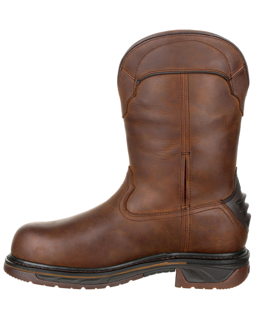 Rocky Men's Iron Skull Waterproof Western Boots - Safety Toe, Dark Brown, hi-res