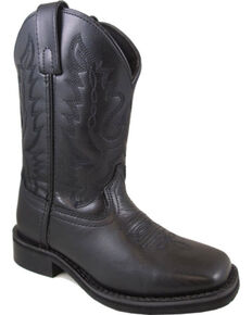 Smoky Mountain Boys' Outlaw Leather Cowboy Boots - Square Toe , Black, hi-res