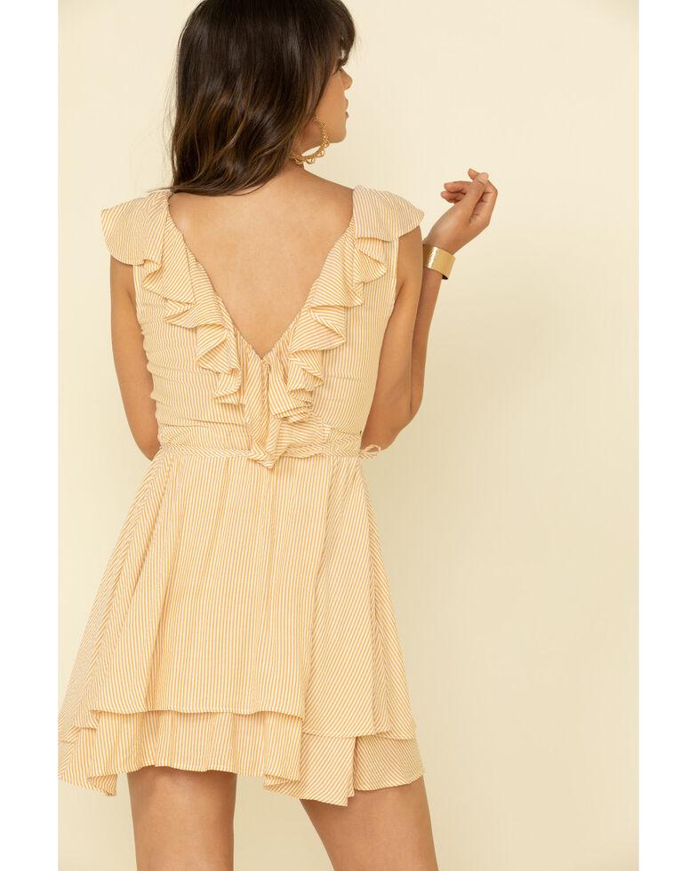 HYFVE Women's Micro Stripe Ruffle Wrap Dress, Dark Yellow, hi-res