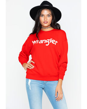 Wrangler Women's Logo Crew Neck Sweater, Red, hi-res